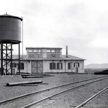 Image of UNRS-P1993-06-0912 - Photograph of Fernley and Lassen Railroad. The back side of the roundhouse at Susanyard circa 1914. Copy of original photograph from Bancroft Library, University of California, Berkeley