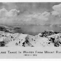 Image of UNRS-P1990-02-0872 - View of Lake Tahoe in winter from Mount Rose; photographic print