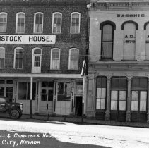 Image of UNRS-P1995-38-62 - Masonic Hall and Comstock House.  Virginia City, Nevada.