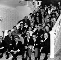 Image of UNRS-P1999-10-147 - Founder's Reception Basque Studies Program, Governor's Mansion, April 20, 1968.  `Twas a fine Basque Evening, Paul Laxalt, Governor  [Robert Laxalt, front row left, Paul Laxalt, front row center]