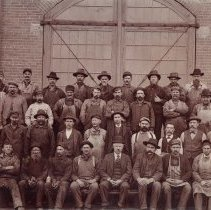 Image of UNRS-P2001-01-120 - V. & T. R. R. [Virginia and Truckee Railroad] work crew, Virginia City, Nevada.