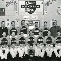 Image of UNRS-P1992-01-1237 - Photograph of Chism Ice Cream Company employees or athletic team? Date stamp: Chism Ice Cream Company. Paid February, 1940.