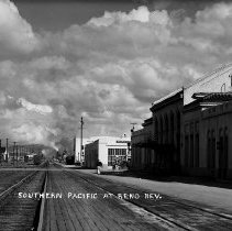 Image of UNRS-P1992-01-2096 - Negative only. Southern Pacific at Reno, Nevada. Southern Pacific station, 1930s.