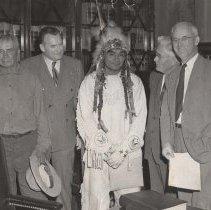 Image of UNRS-P1997-50-0733 - Chief MucacI Timuku; Senator Malone, Nevada; Chief Oren George [Tibisiz]; representatives of the Department of the Interior in Washington, D. C., 1948.