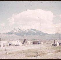 Image of UNRS-P1997-50-0781 - Slide. Indian camp at Salmon City, Idaho, May 1950.