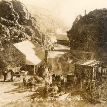 Image of UNRS-P2001-01-245 - Toll house at Devil's Gate, Silver City, Nevada, 1866.