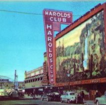 Image of UNRS-P1992-03-0476 - Postcard containing image of Harolds Club sign. Caption on verso: Harold's Club Illuminated Sign. Showing the largest and most attractive sign in the West. At Reno, Nevada. [ca. 1955]
