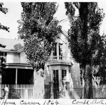 Image of UNRS-P0007-5 - Postcard of Orion Clemens' house, Carson City, 1864. Photo compliments of A. A. Hibbard; from the George Wharton James collection.