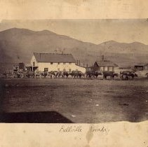 Image of UNRS-P0039-2 - Photograph of Belleville, Nevada; freight wagon and team of oxen