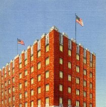 Image of UNRS-P1992-03-0287 - A colored picture of Hotel El Cortez in Reno, Nevada on a clear day with two American flags flying above the building. Caption on image: Hotel El Cortez Home of the Trocadero Reno, Nevada. Caption on verso: Hotel El Cortez Reno, Nevada. Reno's Newest Hotel. Air Conditioned. [ca. 1947]