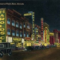 Image of UNRS-P1992-03-0456 - Hand-illustrated postcard of North Virginia Street at night. Caption on image: North Virginia Street at night, Reno, Nevada. Caption on verso: Reno is noted for its famous gambling casinos. Handwritten on verso: Tues. PM. Dear Aunt Jo, Have arrived as far as Elco [sic], Nevada on my second day out. I expect to get to Reno tomorrow and will arrive Sacto. [sic] some time Thurs. I should be there early in after noon. Love to all, Betty. Postmarked 1953.