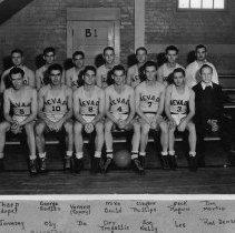 Image of UNRA-P3039-1 - Basketball team Tharp; George Hadlen; Vernon; Mick Gould; Clayton Phillips; Jack Roguin; Doc Martie; Jonesey; Oly; De; Orv Tregallis; Joe Keily; Les; Red Jensen.