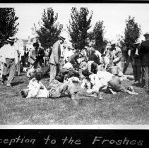 Image of UNRA-P482-079 - Cane Rush; album caption: Reception to the Froshes (circa 1911).