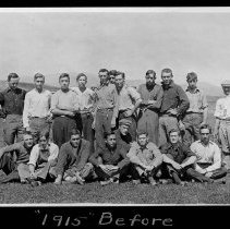 """Image of UNRA-P482-088 - This photograph was taken during Cane Rush showing members of the University of Nevada Class of 1915. The caption on the image reads, """"1915 Before."""" Cane Rush was an event where sophomores and freshmen were pitted in a game of strength and agility wherein a cane had to pass through the opponent team and reach the end of the Quad. Cane Rush was part of early university hazing often harshly done from upperclassmen to lowerclassmen (photographic print, 3.25 x 5.5 inches)."""
