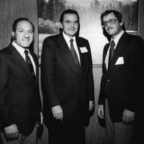 Image of UNRS-P2003-10-130 - Jere Williams, Dr. Kenneth C. Smith, and unidentified man at annual meeting, November 15, 1974.