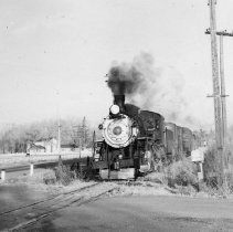 Image of UNRS-P1987-23-3569 - Photograph of Virginia & Truckee Railway. Leaving Steamboat in the afternoon bound for Reno. 5-9-50.