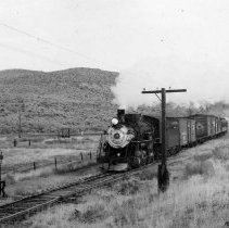 Image of UNRS-P1987-23-3581 - Photograph of Virginia and Truckee Railroad. Southbound at the east switch at Washoe City. 11-16-49.