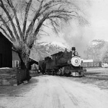 Image of UNRS-P1987-23-3612 - Photograph of Virginia and Truckee Railroad. At the Carson freight house. 4-12-50.