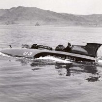 Image of UNRS-P1998-15-300 - Caption on image: Mira Slovak; Tahoe Miss. [Tahoe Miss, hydroplane, on Pyramid Lake]