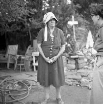 Image of UNRS-P1985-08-13167 - Contact Prints Box 1. Josie Pearl - prospector-miner; Leonard Creek Ranch Road; 92 years old [81 years old]; August 1955 (neg. 2x2)