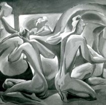 Image of UNRA-P3426-0100 - Oil on panel board painting of a cluster of nude women by Craig Sheppard (undated)
