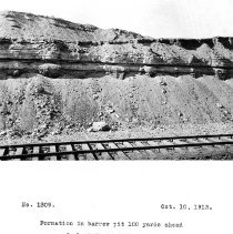 Image of UNRS-P2008-18-3693 - Formation in borrow pit 100 yards ahead of electric shovel. October 10, 1913.