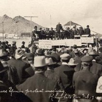 Image of UNRS-P2009-02-3 - Miners Union protest meeting, Rhyolite, Nevada, February 17, 1907. Photo by A.E. Holt.