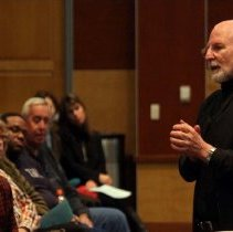 Image of UNRA-P3472-123 - Milt Glick talking to an audience (circa 2008).