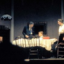 """Image of UNRA-P3475-0151 - Photograph of Delmar H. Dolbier, Mickey Hart, and Iris Homestead during the first performance of """"Ah, Wilderness!"""" at the J. E. Church Fine Arts theater, October 1960. (NOTE First performance in the theater.)"""