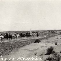 Image of UNRS-P0828-1 - Photograph of a freight team freighting to Rawhide. Circa 1907-1908. Caption on image: Freighting to Rawhide