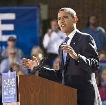 Image of UNRA-P3600-02240 - Senator Obama on campus during his 2008 presidential campaign.