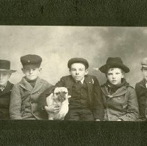 Image of UNRS-P2012-10-073 - [Group photograph of five boys and pug.]