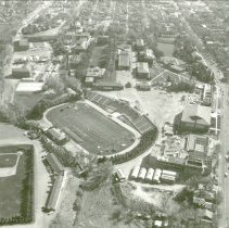 Image of UNRA-P1070-18 - Aerial photograph of campus: athletic field (1961).