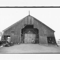 Image of UNRS-P2003-13-253 - Photograph of hay bales in Hellwinkel Barn, Gardnerville built in 1911.