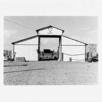 Image of UNRS-P2003-13-289 - Photograph of West elevation, two-stall horse barn, Kent Ranch, Stillwater. Barn was built between 1970 and 1980.