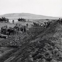 Image of UNRS-P1760-1 - Photograph of fresno horse scrapers digging canal for Newland Project. Typewritten note on verso: Newlands 90 Fresnoes at work on L line canal in sec. 17 from sta. 1159 looking down canal - W. J. L., Jan 9, 1905.