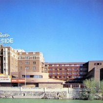 Image of UNRS-P1992-03-1032 - Postcard of Jessie Beck's Riverside Hotel and Casino. Caption on verso: Jessie Beck's Riverside Hotel/Casino. In the heart of Reno, Nevada, offers the finest and friendliest in dining, entertainment, gaming, large pool, health spa, 500-seat convention center.