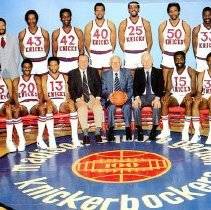 Image of UNRA-P3628-00074 - Greeting card featuring photograph of the New York Knicks.  Caption on image: Hal Eisher (first on left, back row).