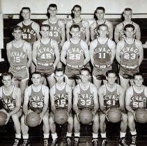 Image of UNRA-P3628-00234 - Photograph of University of Nevada basketball team. Left to right: (Back row) McKibben; Plummer; Scott; Kendrick; Meder. (Middle) K. Longero; Pirett; Piazzo; Handley; Nelson. (Front row) Smith; Bastian; Wilkenson; Jepson; Sullivan; Trounday. 1954-1955.