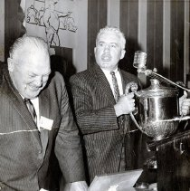 Image of UNRA-P3628-00310 - Photograph of Jake Lawlor and unidentified man at Testimonial Banquet, May 28 1959.