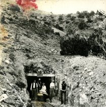 Image of UNRS-P1992-01-0630 - Antimony Mine Tunnel? Reveille? [Nevada Smith, Southwestern Nevada Mine] Photo by E. W. Smith, Tonopah, Nevada.