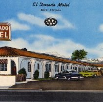 Image of UNRS-P1992-03-0707 - Hand-illustrated postcard of cars outside El Dorado Motel. Caption on image: El Dorado Motel. Reno, Nevada. Approved AAA Motel. Caption on verso: El Dorado Motel. 20 fully modern units with full-tile showers and circulating hot water heat. Wall-to-wall carpets. Some air-conditioned units. It's quiet - no trucks or trains. [ca. 1952]