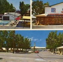 Image of UNRS-P1992-03-0708 - Postcard containing collage of Harold's Pony Express Lodge pool, main building, and entrance. Caption on verso: Harold's Pony Express Lodge. Each room has radio, phone, tile bath. Beuatifully furnished. AAA approved. U.S. 40 East at the 'Y' - Reno, Nevada. [ca. 1965]