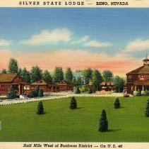 Image of UNRS-P1992-03-0756 - Hand-illustrated postcard of lawn in front of Silver State Lodge. Caption on image: Silver State Lodge - Reno, Nevada. Half mile west of Business District - On U.S. 40. Caption on verso: Silver State Lodge. Reno's finest motor court. De luxe rustic cottages. Completely equipped kitchens. Living rooms and baths. Quiet - Steam heated. Rodney J. Reynolds, Manager. [ca. 1940]