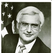 Image of UNRA-P3359-234-00001 - Photograph of Nevada Congressman Jim Santini, who was born in Reno and was a member of the Alpha Tau Omega fraternity while a University of Nevada student.