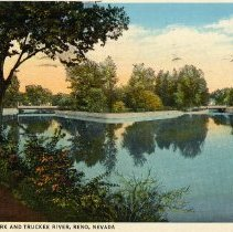 Image of UNRS-P1992-03-1327 - Wingfield Park and Truckee River, Reno, Nevada. Postmarked 1936.