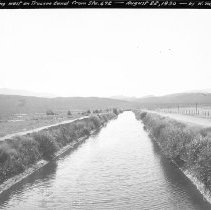 Image of UNRS-P2008-18-0358 - Looking west on Truckee Canal from Sta. 672. August 22, 1930 by Hugh M. Wilson.