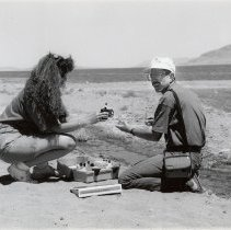 Image of UNRA-P3663-002-00013 - Photograph of two unidentified teachers participating in a Teachers Institute field trip to Pyramid Lake, sponsored by Extended Studies.