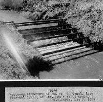 "Image of UNRS-P2008-18-3919 - Wasteway structure at end of ""L"" Canal, into diagonal drain, at Sta. 234 + 36 of drain. G.F. Engle, May 7, 1923."