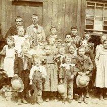 Image of UNRS-P1992-01-0621 - [Illegible] School 1890s. Elona Van Sickle's mother. Mining camp near Hamilton [illegible] when Elona 6 years old. Elona Lynch.